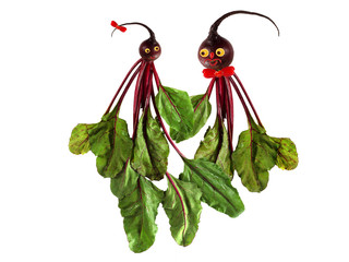 Funny portraits of men and women, made ​​from beets.