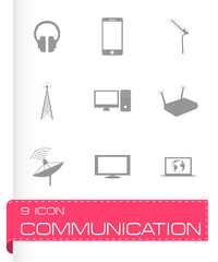 Vector black communication icons set