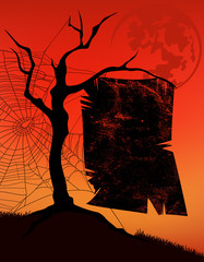 halloween background with tree and poster