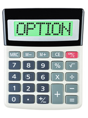 Calculator with OPTION on display isolated on white background