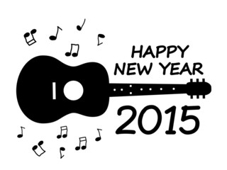 Happy New Year 2015 with guitar illustration