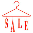 Clothing hanger with sale word.