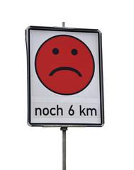 Smiley auf der Autobahn -Baustelle