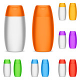 Collection of color shampoo bottles.