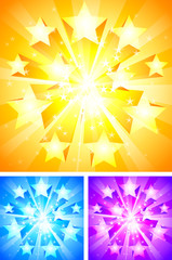 Three bright backgrounds with stars.
