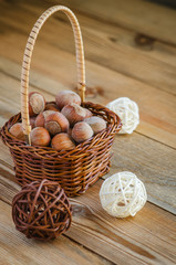 hazelnuts in the basket