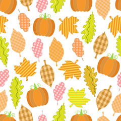 Autumn seamless background with leaves and pumpkin