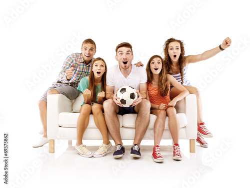 canvas print picture Group of young people on sofa with ball
