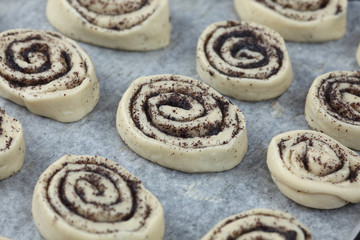 Poppy seed buns before baking