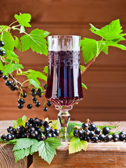 black currant liquor and ripe berries