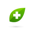 Medical eco logo icon design template with cross and plus