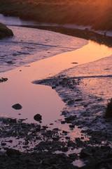 coucher de soleil sur une ria bretonne