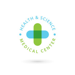 Medical center logo icon design template with cross and plus