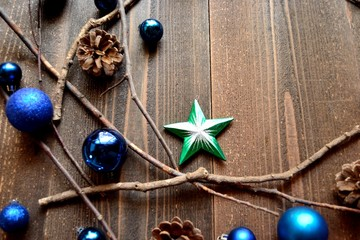 Blue Christmas ornament balls with star