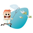 geld jagen finanzen cartoon geldschein