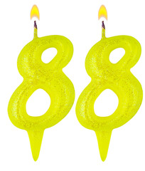 Birthday candles number eighty eight isolated on white