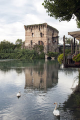 River Mincio and the Village of Borghetto, italy