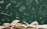 Open school books with school table