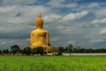 Wat Muang with gilden giant big Buddha statue in Thailand