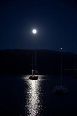 Boat in the moon light