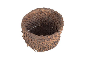 old round wicker willow basket isolated on white background