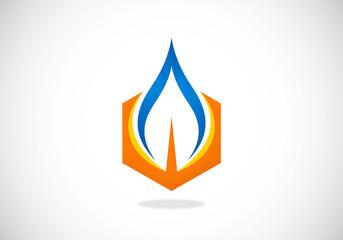 gas water fire vector logo