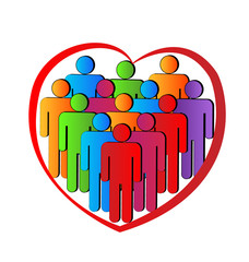 People in a heart logo teamwork charity vector logo icon