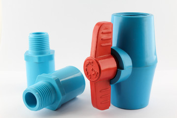PVC ball valve and fittings.