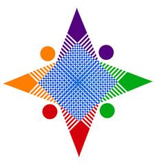 Teamwork abstract star in vivid colors logo vector