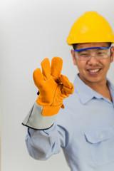 Asian engineer happy