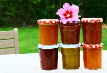 pots de confitures variées d'été,fraise,framboise,abricot,prune