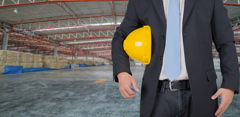 engineer yellow helmet for workers in thewarehouse