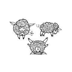 Sheep / Sketch of Three adorable animals