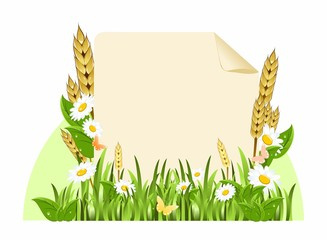 Background with flowers and ears of corn