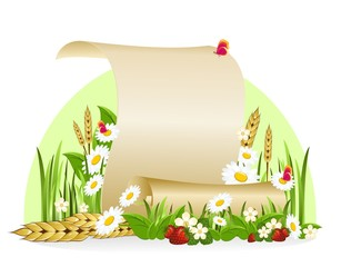 Scroll of paper surrounded by flowers and ears of corn