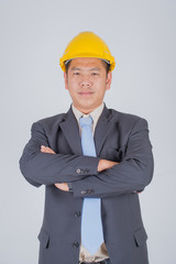 Manager asian business at happy complete job in depot