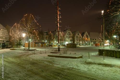 canvas print picture Marktplatz im Schnee