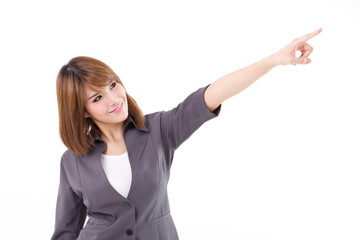 Smiling, confident, happy business woman pointing pose