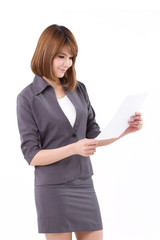 happy, smiling, positive businesswoman with document