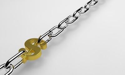 Dolar ile bağlı zincir - Beyaz zeminde