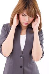 stressful business woman suffers from headache, stress, overwork