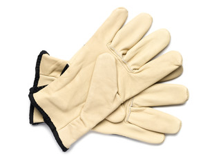 Leather Work Gloves on White