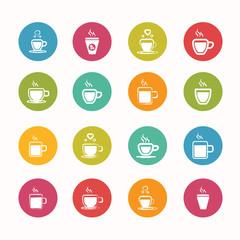coffee icons set Circle Series - eps.10
