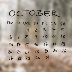 Handwritten calendar for the month of October