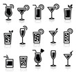 Cocktails, drinks glasses vector icons set