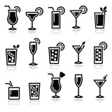 Fototapety Cocktails, drinks glasses vector icons set