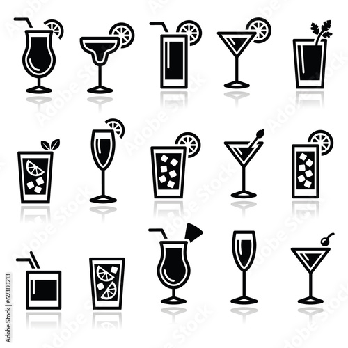 Cocktails, drinks glasses vector icons set - 69380213