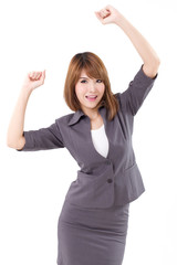 businesswoman isolated, glad, smiling, shouting with joy