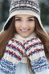 Gorgeous woman wearing winter clothes