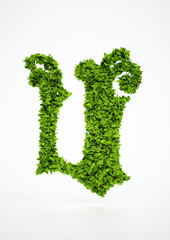 Ecology letter U symbol with white background